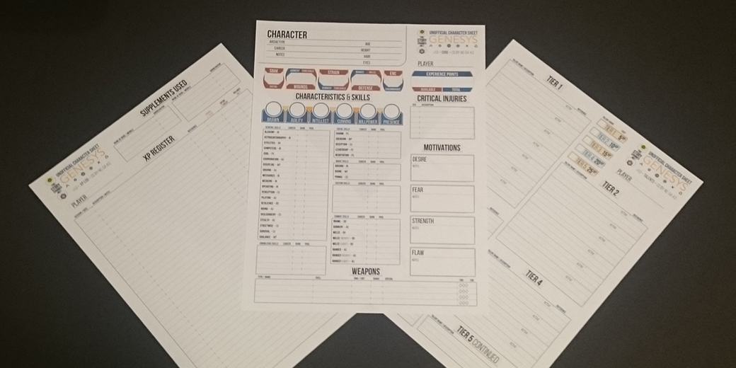Unofficial Genesys Character Sheets, version 1 – The Story Spanner